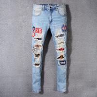Wholesale print skinny jeans - 2018 High Quality Brand SRPING BIKER DENIM Stripe hole JEANS MEN LOS ANGELES STREET FASHION Hole BLACK JEANS SKINNY PANTS