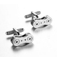 Wholesale Bike Jewelry Silver - Top grade Jewelry Machinery Bicycle Cycling Chain Cufflinks New arrival silver color Shirt cufflinks High Quality mens Bike chain cufflinks