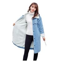 Wholesale wool jeans women online - 2018 Women Basic Coat Winter Denim Jacket Women Warm Wool lining For Jeans Jacket Female Long Denim Coat chaqueta mujer
