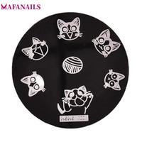 hehe çivi toptan satış-1 Adet Hehe Serisi Nail Art Damgalama Tabaklar Görüntü Plakası Sevimli Kedi Kediler Paws Örgü Topu Yuvarlak Metal Nail Art Şablon Plaka 5.5 cm