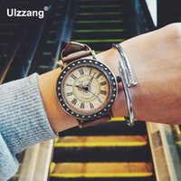 big brown leather wrist watch 2018 - 2018 New Vintage Big Dial Magic Brass Shell Round Dial Leather Quartz Wristwatches Wrist Watch for Men Women Young