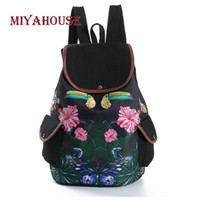 Wholesale vintage canvas backpack floral - Miyahouse Vintage Butterfly Leaves Print BackpacFemale Canvas Travel RucksacFor Girls Shoulder School Bags Floral Printed