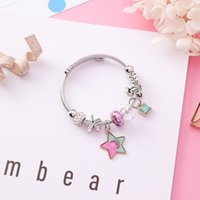 корейская японская мода оптовых-2018 Japanese Korean Girl Adjustable Stainless Steel Bangles for Women Fashion Pentagram Star Crystal  Retro Accessories