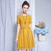 Wholesale large kimono - Factory direct sale large size women's dress 2018 summer new mid-long striped chiffon dress
