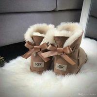 botas de mujer negra al por mayor-Botines para mujer Arco Botas para la nieve Alta calidad Unsex Australia Clásico cuero genuino Negro / Gris / Marrón / Café Nieve botas 3260