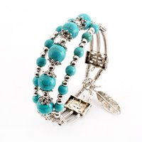 Wholesale three strand resale online - Fashion Alloy Feather Pendant Three Layer Charm Bracelets Bangles For Woman Wristbands Bangles Turquoises beads Bracelets