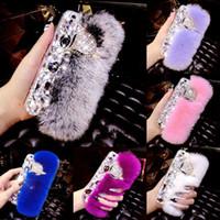 меховой чехол для кроликов оптовых-Кролик волосы мех лисы побрякушки алмаз тпу сликон чехол мягкий на ощупь теплый чехол для iPhone XS макс XR X 8 7 6 плюс Samsung Galaxy S10 E S9 S8 примечание 9