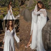 Wholesale Chiffon Tiered Gown Jacket - Asaf Dadush 2018 Wedding Dresses with Long Sleeve Wrap Jacket Vintage Crochet Lace Fairy Flowy Chiffon Beach Boho Bridal Wedding Gown