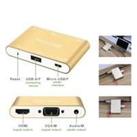 av numérique hdmi achat en gros de-Numérique AV Multiport Adaptateur Téléphone Multifonction USB vers HDMI / VGA / Convertisseur Vidéo Pour iPhone 6 6S 7 plus Ipad Samsung S7 Windows