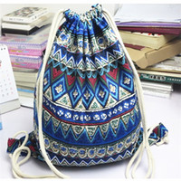 wall package 2018 - Ethnic Style Storage Bags Multi Function Blue Gules Rope Organizer Girl Cotton Linen Cloth Package Female Stripe Drawstring Bag 6cl bb