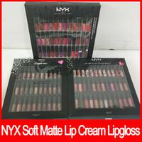 Wholesale lingerie soft - NYX SOFT MATTE LIP CREAM VAULT Lingerie Vault Lipstick Lip Gloss Matte No Fading Soft Velvet Lip Makeup kit 36 color 30 color