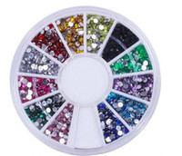 Wholesale nail deco set resale online - Nail Art Glitter Tip mm Rhinestone Deco With Wheel set set
