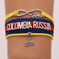 Wholesale holiday gift wrapping - The World Cup Gifts Infinity Love COLOMBIA RUSSIA Bracelet 2018 Soccer Charm Leather Wrap Sport Bracelets Bangles