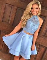 Wholesale halter top dresses plus size - 2018 Light Blue Two Pieces A-Line Homecoming Dresses Halter Lace Top Mini Short Dresses Layered Ruffles Vestidos De Festa Prom Dresses BA905