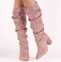 strass hohe stiefel großhandel-2017 neue Mode Frauen Diamant Stiefel Mitte Kalb Strass Stiefel hohe Gladiator Boot Damen Glitter Party Schuhe Runway High Heels Boote