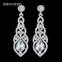 Wholesale champagne color earrings resale online - Mecresh Crystal Wedding Long Earrings for Women Silver Champagne Blue Color Fashion Bridal Earrings Wedding Jewelry EH444