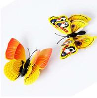 ingrosso adesivi gialli della farfalla-12 PZ 3D Giallo Farfalla Wall Sticker Frigorifero Magnete Room Decor Decal Applique Cortina di frigorifero Con magnetico