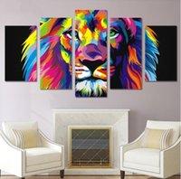 peça de lona colorida abstrata venda por atacado-Lona Cartaz Home Decor Wall Art Estrutura 5 Peças Pinturas de Leão Colorido Para Sala de estar HD Prints Abstract Animal Pictures