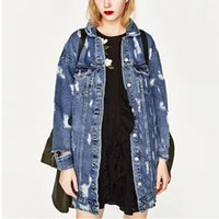 ingrosso fidanzate jeans grossi buchi-Boyfriend Vintage Big Hole Denim Jacket 2017 Nuove donne 2 tasche Single Buttons Mid Long Jacket Coat Femme Jean Capispalla