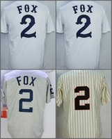 Wholesale Fox Cream - 2 Nellie Fox Jersey White Grey Mens Stitched Throwback 1959 Cream Pinstripe Jersey Embroidery Logos Size M-3XL