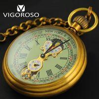 ingrosso orologi meccanici antichi-Di alta qualità genuino rame puro 1882 vintage orologio da taschino meccanico a mano a mano fino alla fase lunare Tourbillon orologio di lusso