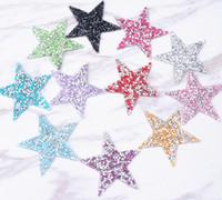 diseño de motivos para la ropa al por mayor-25 unids / lote estrella 6 cm diseño Rhinestones Hotfix Motivos Hierro en Parches de transferencia de calor Motivo apliques de cristal strass para el arte de la ropa