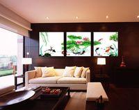 flores pintadas para paredes chinesas venda por atacado-Frete grátis Frete grátis tradicional chinesa koi peixe e flor de lótus da lona pintura de parede 3 painel de pintura da arte para sala de estar parede dec