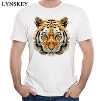 Wholesale Tiger Print Long Shirts Design - Wholesale-LYNSKEY Cool Design Tops Men's Tiger Printed T-Shirts Summer Fall Short Sleeve Tees Cotton Fabric Round Neck Casual Sweatshirts