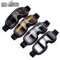 Wholesale black scooters - MJMOTO Vintage Aviator Pilot Style Motorcycle Cruiser Scooter Goggle T13 T13BTB Smoke Lens Black Padding harley style goggles