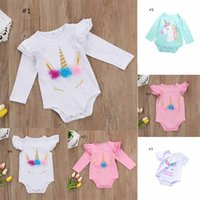 Wholesale Green Baby Girl Rompers - Unicorn new arrivals spring summer baby kids climbing romper round collar long sleeve or short sleeve girl kids romper baby rompers 0-2T