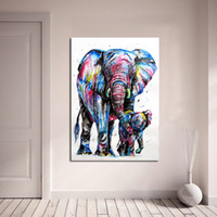 Wholesale modern elephant decor resale online - 1 Panel Animal Painting Elephant And Baby Elephant Painting Canvas Art Home Decor Wall Pictures For Living Room Modern No Frame