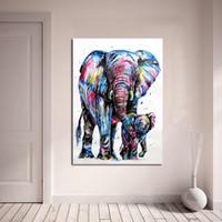 decoración moderna de la habitación del bebé al por mayor-1 Panel Pintura Animal Elefante Y Bebé Elefante Pintura Arte de la Lona Decoración Del Hogar Cuadros de La Pared Para la Sala de estar Moderno Sin Marco