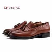 Mabaiwan New Tassel Men Genuine Leather Handmade Slippers Dress Shoes  Business Wedding Shoes Men s Loafers British Smoking Flats eb3f5480a32f