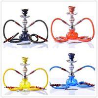 Wholesale acrylic hose online - Double Hookah Shisha Bong Smoking Pipe Set Cool Ceramic Bowl Arab Stem Glass Vase Tools colors inch Height One Hose pumpkin diamond