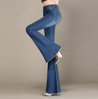 Wholesale wide leg cargo pants - Autumn High Waist Flare Jeans Pants Plus Size Stretch Skinny Jeans Women Wide Leg Slim Hip Denim Boot Cuts s1057