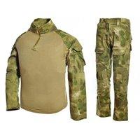 taktik pantolon gömlek toptan satış-Erkekler Kadınlar Için taktik Kurbağa Giyim Üniformaları Askeri Camo Taktik Takım Marines Kamuflaj Artı Boyutu Ordu Asker Pantolon Gömlek