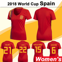 Wholesale girl teams - 2018 World Cup Women Soccer Jersey Spain National Team SILVA S.ASENSIO Home Red Girl Football Shirts ISCO MORATA Short Sleeve Lady Jerseys