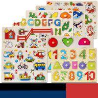 nombre de plaques achat en gros de-Nombre d'enfants bois puzzle main embrayage plaque puzzle en bois lettre intelligence jouet améliorer la capacité de pensée 4 6sy w