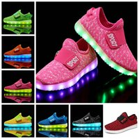 Wholesale girls usb light online - Breathable Kids LED Luminous slip on Sneakers USB Rechargeable Children Air Mesh Boys girls Sports Shoes with lights GGA366