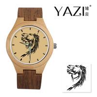 счастливые часы оптовых-YAZI DIY Деревянные часы Лошадь Lucky Logo Кварцевые часы Природные бамбуковые деревянные чехлы Наручные часы Деревянная полоса Band Подарок для друга