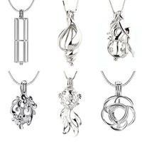 Wholesale mermaid pendant sterling resale online - Mix Different Designs Sterling Silver Cage Pendants Rose Conch Mermaid Cylindrical Flower and Goldfish