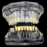 Wholesale cosplay trendy online - Metal Tooth Grills copper under Dental Grillz Top Bottom Hiphop Teeth Caps Body Jewelry for Women Men Fashion Vampire Cosplay Accessories