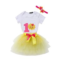 комбинезон для мальчика оптовых-3Pcs Newborn Baby Girls Princess One Year Birthday Party Sun Tops Bodysuit Romper Tutu Skirt Clothes Children Clothing Set