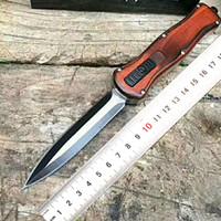 ingrosso interruttori a coltello-Coltello da campeggio tattico portatile da banco D2 strumento di caccia difensivo in legno Switch coltelli da combattimento 59HRC