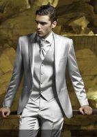 chaqueta de satén gris al por mayor-Tailor Made Sliver Grey Satin Hombres Trajes Slim Fit Groom Prom Dress Tuxedo 3 piezas Blazer Hombre Best Man Jacket + Pant + Vest Terno