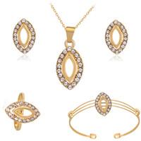hint altın takı toptan satış-Hint moda kristal takı setleri Altın Renk bildirimi kolye kolye küpe yüzük bilezik dört parça takı hediye