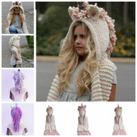 Wholesale cartoon children scarves wraps online - 7 Colors Baby Girls Unicorn Knitted Hats With Scarf Kids Boys Tassels Toddler Cute Long Wrap Cartoon Warm Caps KKA6181