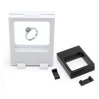 modeschmuck displays großhandel-schwarz weiß ausgesetzt Floating Vitrinen Box Schmuck Münzen Edelsteine Artefacts Stand Halter heißer Verkauf Mode