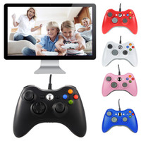 controlador do pc usb gamepad venda por atacado-Controlador de jogo para xbox 360 gamepad preto fio usb pc para xbox 360 joypad joystick acessório para computador portátil pc