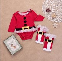 bf22dc773 Wholesale baby boys xmas romper outfits for sale - Baby Christmas Long  Sleeve Romper Leg Warmers